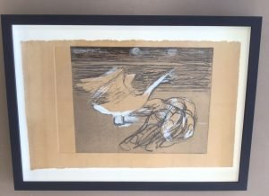 Leda and the Swan worked etching