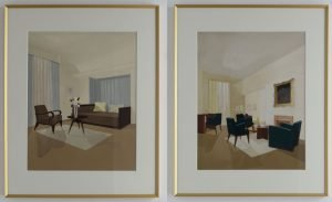 Interiors with Furniture in gold frames x2